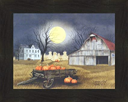 Harvest Moon by Billy Jacobs 16x20 Primitive Farm Barn Pumpkins Full Moon  Corn Shocks Wagon Framed Print Picture