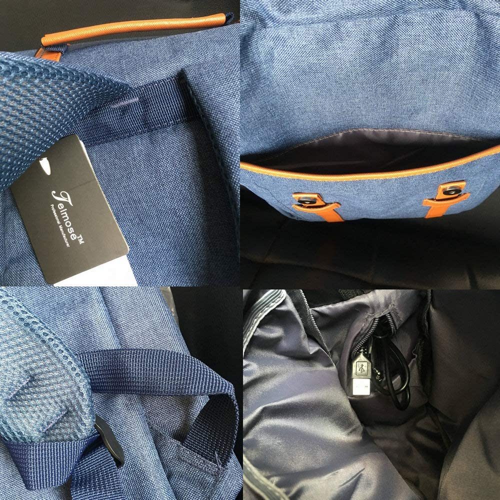 Teimose Mochila port/átil de 15,6 Pulgadas con Puerto de Carga USB iCasso Ligero Funcional Durable Nylon Bolsa de port/átil de Viaje(Blue)