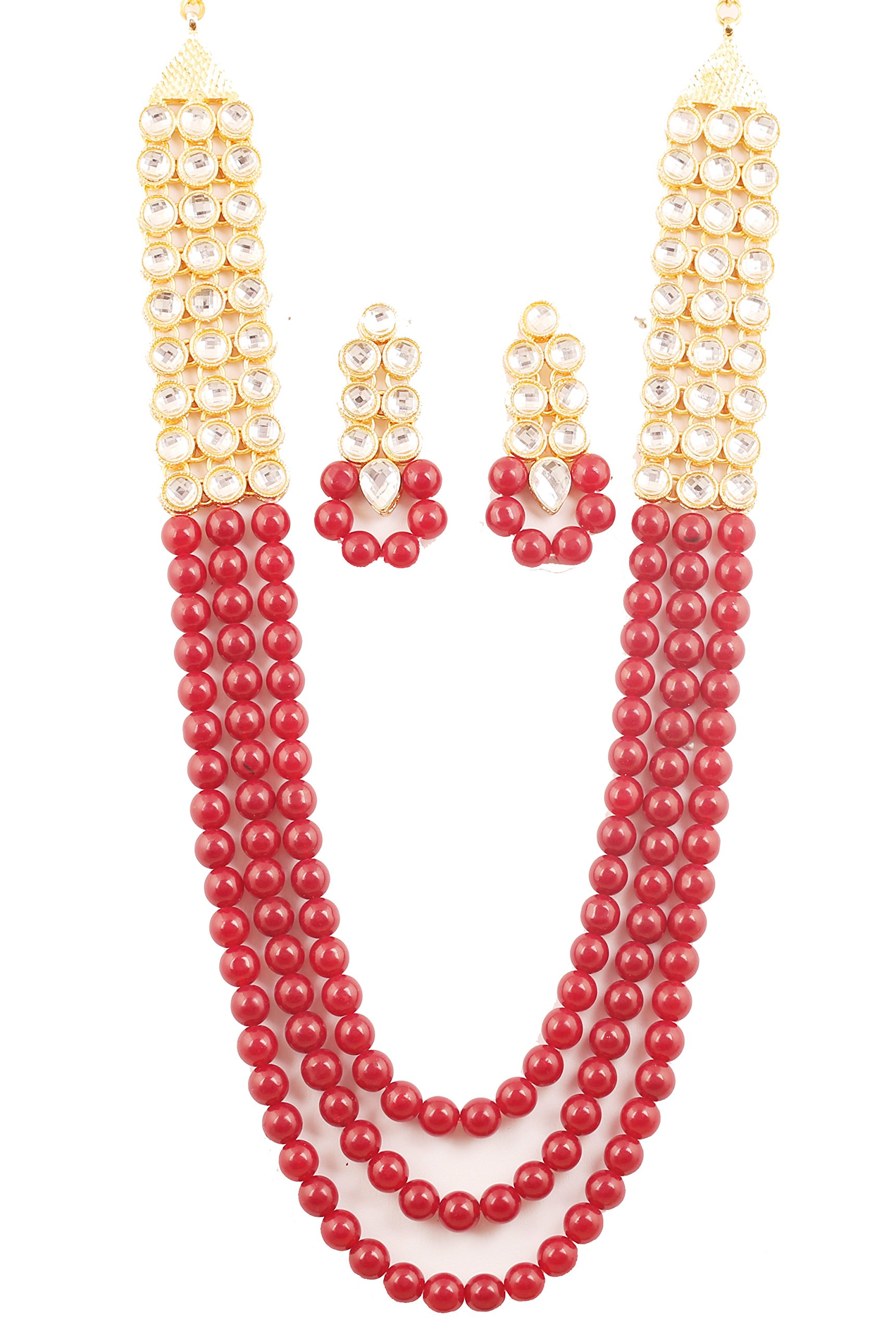 NEW! Touchstone ''Contemporary Kundan Collection'' Indian Bollywood Fine Mughal Craftsmanship Kundan Look Identical Red Onyx Triple Line Strings Long Wedding Designer Jewelry Necklace Set In Antique Gold Tone For Women.
