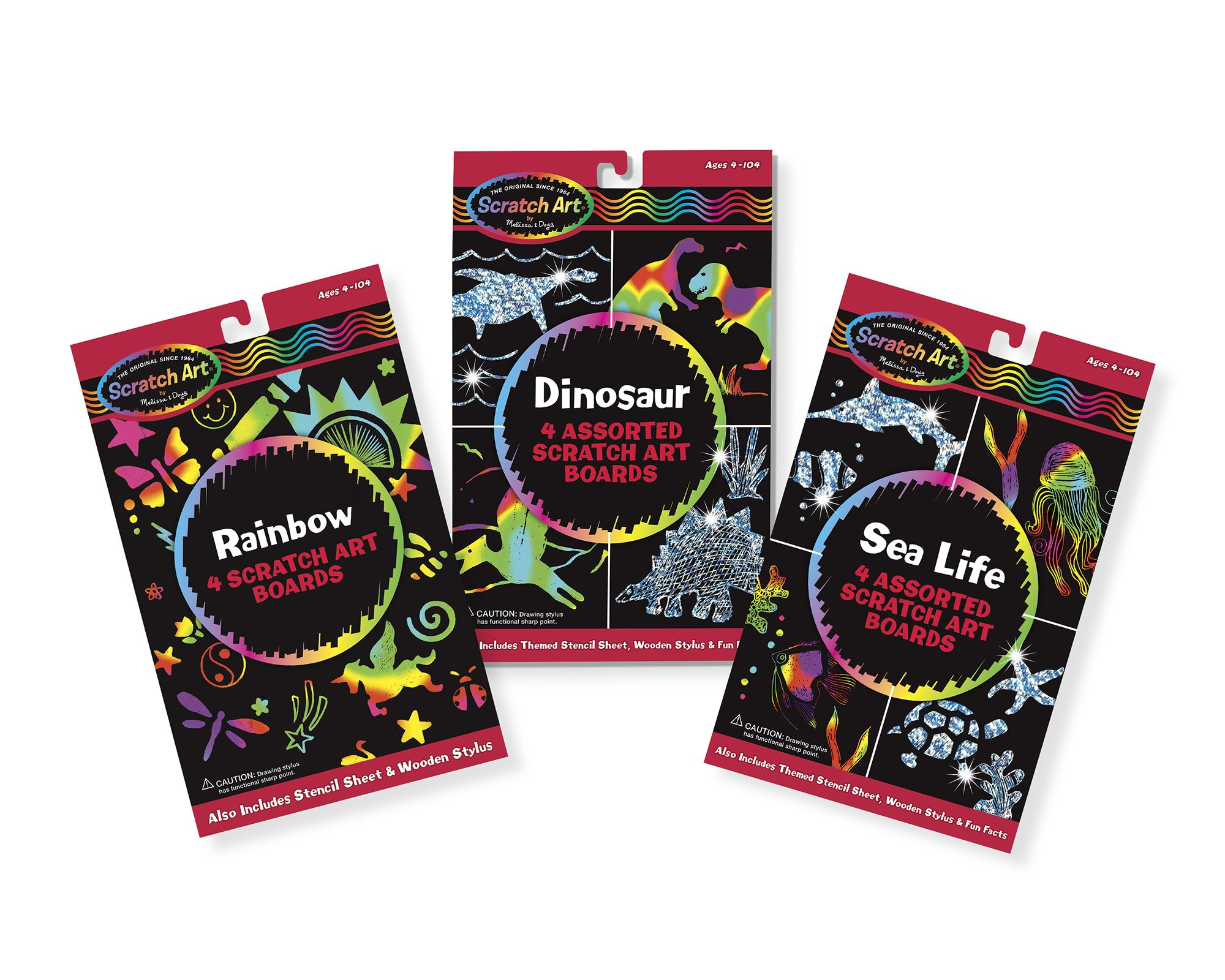 Melissa & Doug Dinosaur Sea Life & Rainbow Scratch Art Boards Bundle 2