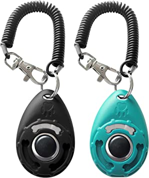 HoAoOo Pet Training Clicker with Wrist Strap - Dog Training Clickers (New Black + Blue)
