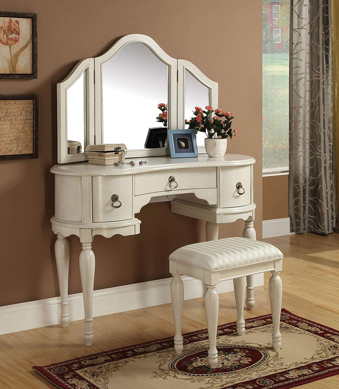 Amazon Com Acme 90024 2 Piece Trini Vanity Set White Furniture Decor