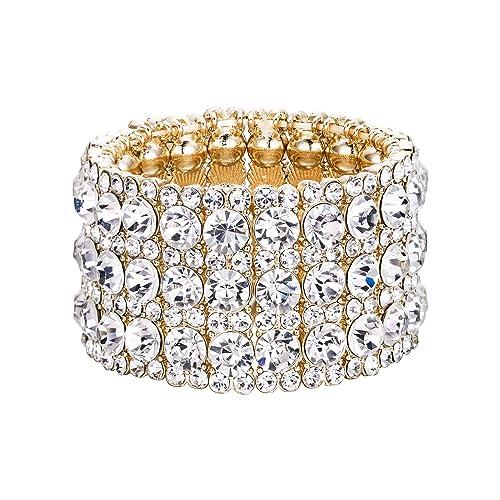 Amazon.com  EVER FAITH Women s Austrian Crystal Round Shaped Birde 3 Layers Elastic  Stretch Bracelet Clear Gold-Tone  Jewelry 53605e3bcc6f