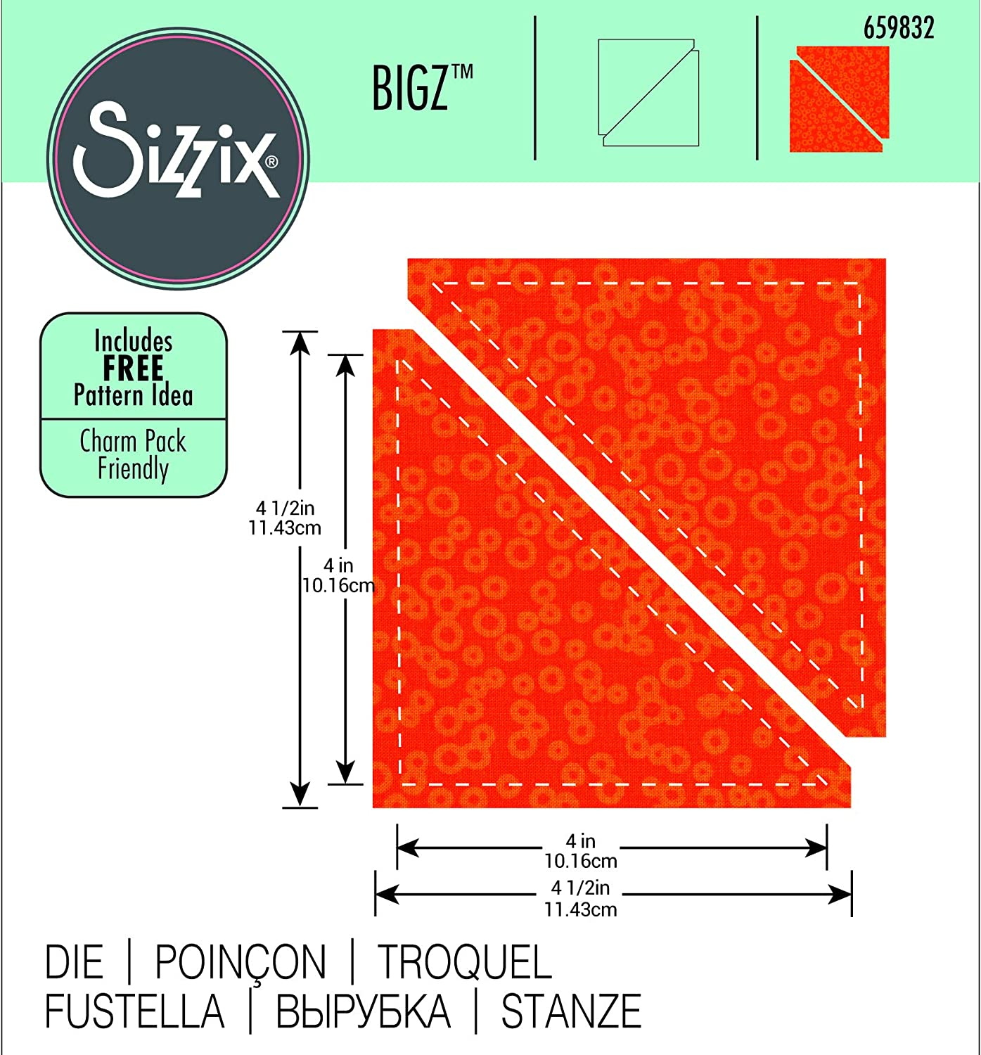 Sizzix Bigz Die 2 1//2-inch Finished  Half-Square Triangles Multi-Color