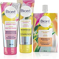 Biore Brightening Jelly Cleanser With Yuzu Lemon + Ginseng, Exfoliator With Yuzu Lemon + Dragon Fruit and Clay Mask With…