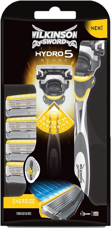 Wilkinson Sword PACK Hydro 5 Sense - Kit con Máquina de Afeitar Recargable de 5 Hojas con Gel Hidratante para Hombre + 4 Cuchillas de Recambio