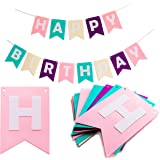 Happy Birthday Bunting Banners - Pastel Felt Letters Garland - Party Decoration Supplies with Colorful Sign by Kristin Paradise