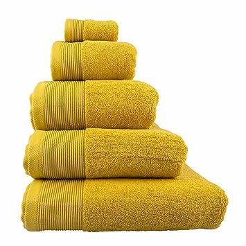 Homescapes - Toalla, algodón egipcio 700 g/m², suave y absorbente, color dorado, algodón egipcio, Ocre, Drap de bain 95 x 150 cm: Amazon.es: Hogar