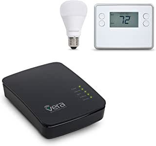 Vera Control Smart Home Thermostat Lighting Starter Kit with VeraEdge Controller, GOControl Z-Wave Thermostat GC-TBZ48, and GoControl 60W Bulb LB60Z-1, Compatible with Alexa