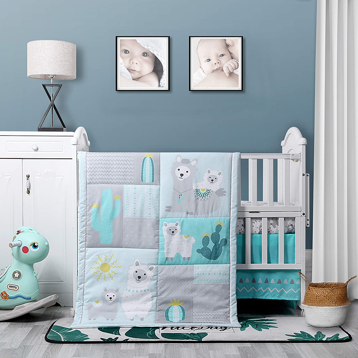 Baby Nursery Turquoise and Grey Crib Bedding Sets: La Premura Llama and Cacti 3 Piece Standard Size Crib Set