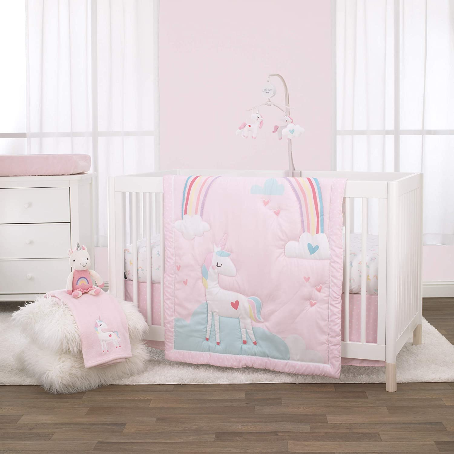 NoJo 3 Piece Crib Bedding Set and Dust Ruffle, Rainbow Unicorn, Pink/Aqua/Yellow/White