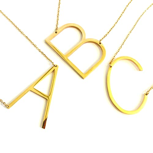 ddecf2b629 She's Wondrous Jewelry 24K Gold Stainless Steel Initial Letter Necklaces  Choker Fashion Pendants Alphabet Necklace (26 Letters A-Z) (B) | Amazon.com