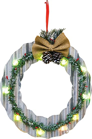 Amazon.com: LED Lighted Corrugated Metal Christmas Tree or Wreath ...