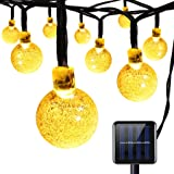 AMIR Solar Powered String Lights, 30 LED 20ft Globe Lights, 8 Lighting Modes Crystal Ball Starry String Lights, Decoration Lights, for Gardens, Home, Party Collectible Accessories(Warm White)