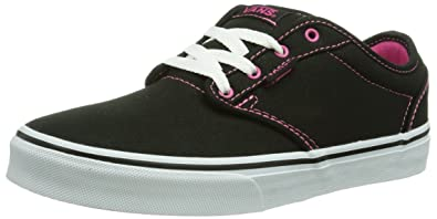 07a13c35b9a6 Vans Atwood Girl Shoes Canvas Black Pink Sneakers (1.0 Little Kid)