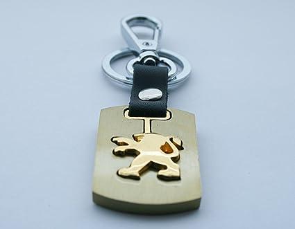 3d acabado dorado metal Llavero Llavero de Coche con logo Peugeot