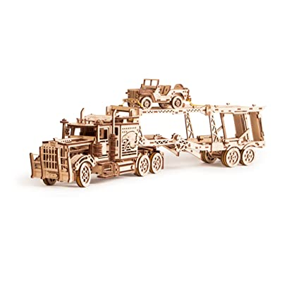 Wood Trick 3 in 1 Bundle Big Rig + Tank Trailer + Car Trailer Self-Propelled Mechanical Models 3D Wooden Puzzle DIY Toy Assembly Gears Constructor Kits Gift for Kids Teens and Adults: Toys & Games