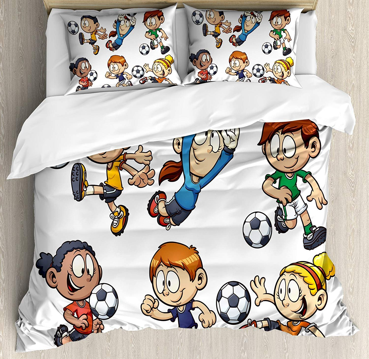 Twin XL Extra Long Bedding Set, Soccer Duvet Cover Set, Children Cartoon Drawing Style Kids Playing Football Happy Moments Active Lifestyle, Cosy House Collection 4 Piece Bedding Sets