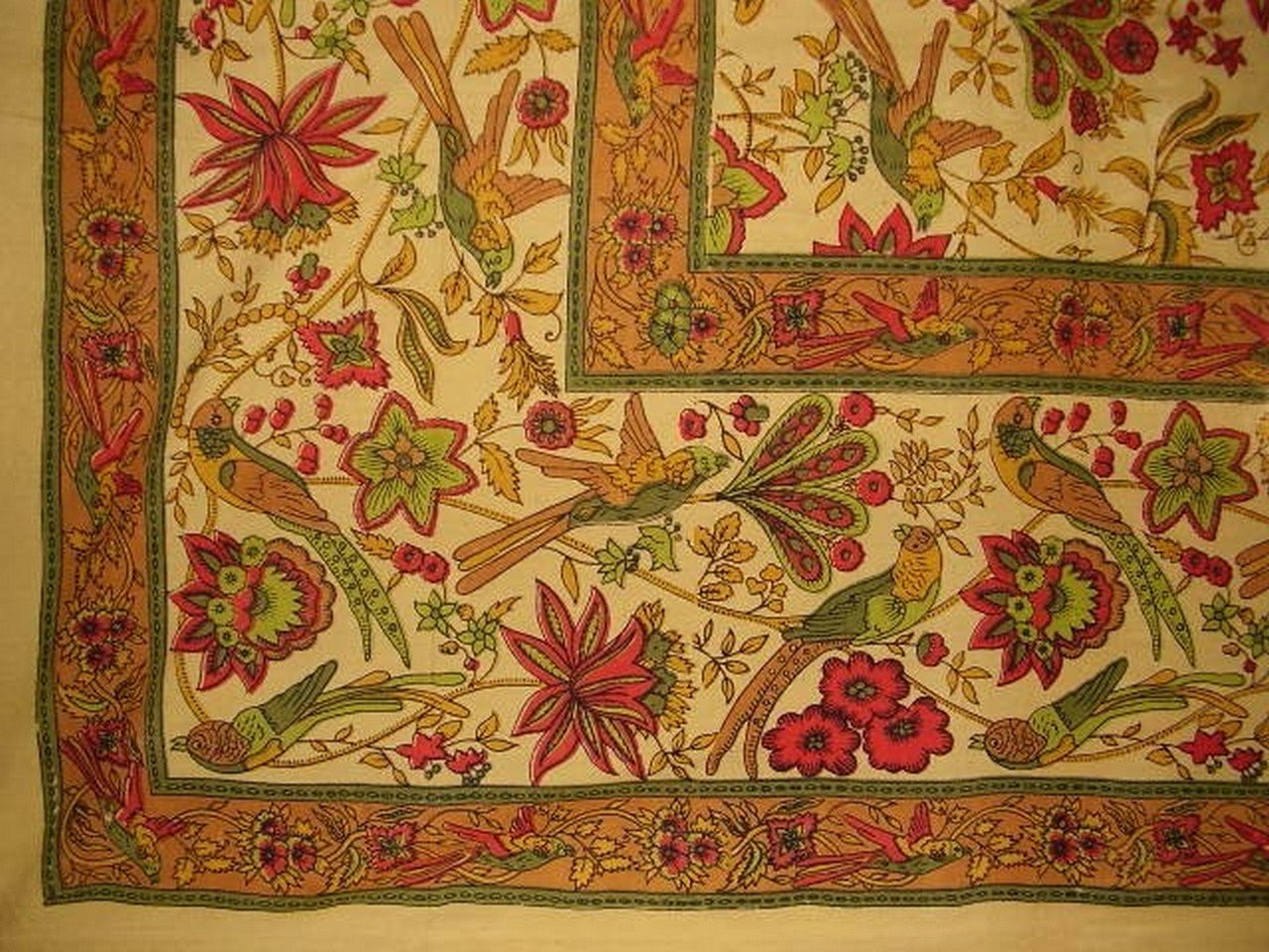 Birds in Paradise Tapestry Cotton Bedspread 104'' x 88'' Full Mustard Brown