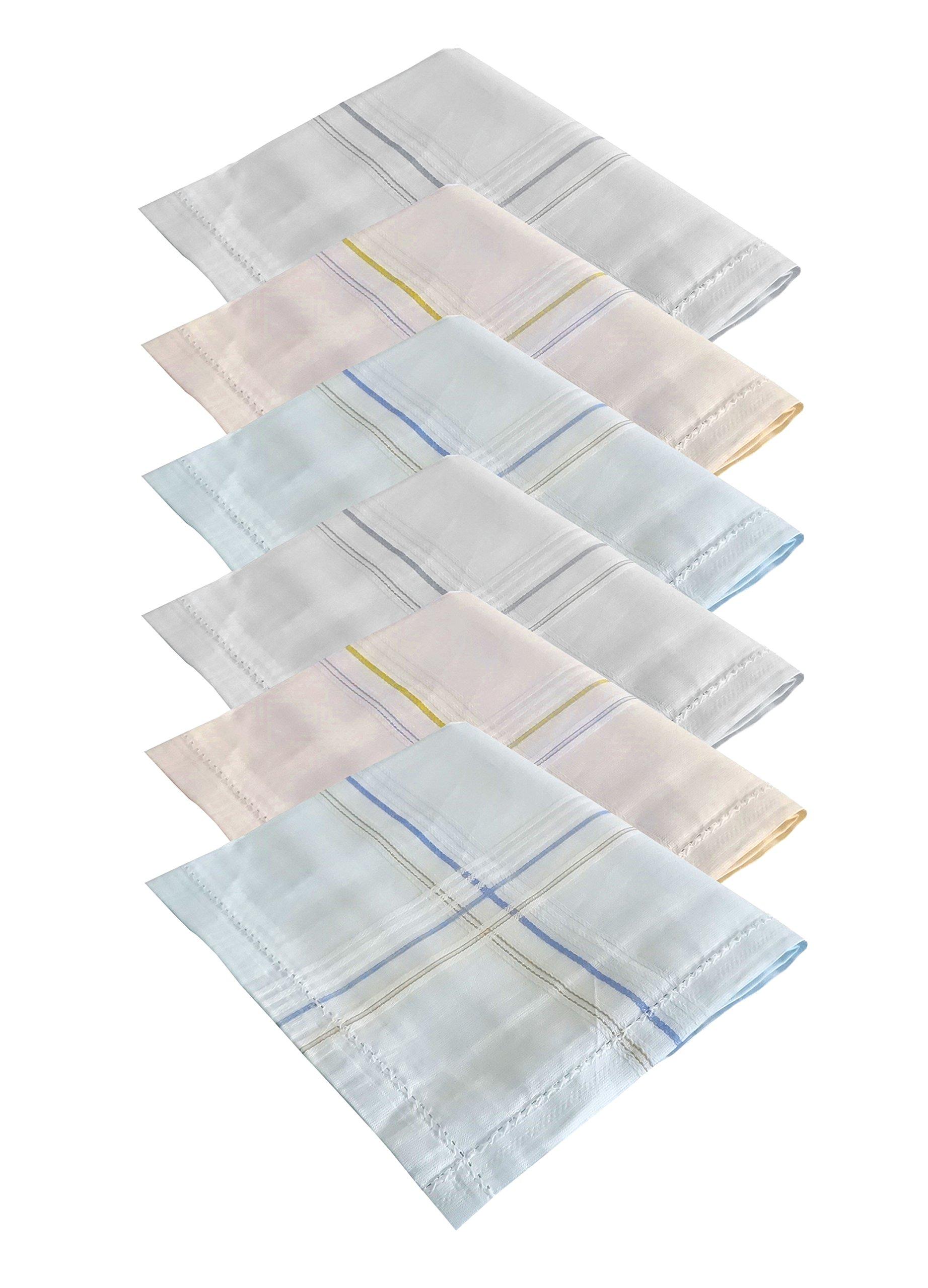 S4S Men's 100% Cotton Luxury Collection Handkerchiefs - Pack of 6 (Multicolor_46X46 CM)