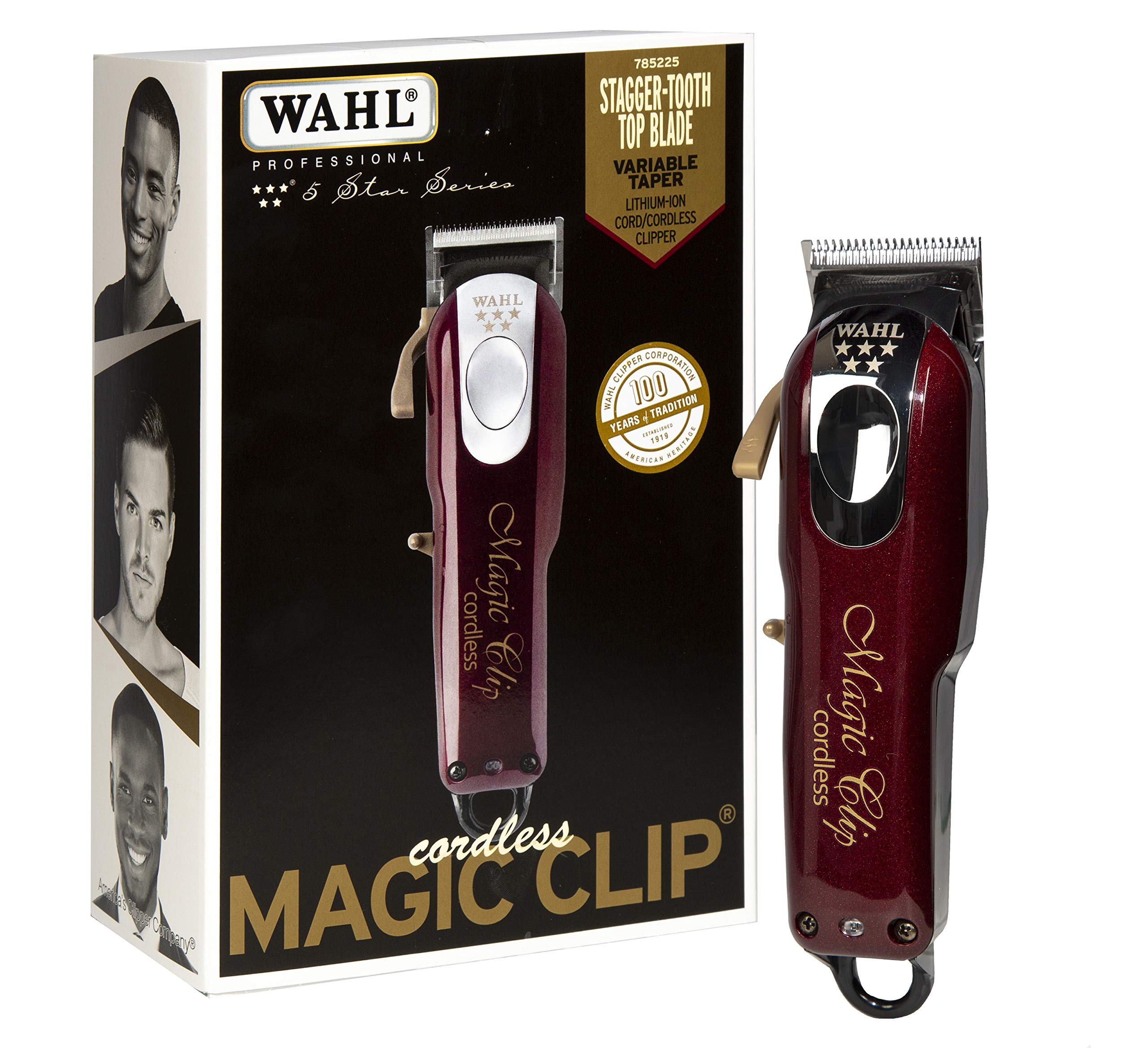 Wahl Professional 5 Star Magic Clip Cord Cordless Hair Clipper for Barbers and Stylists, 6.25 Inch, red, 1 Count