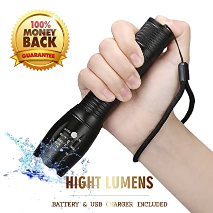 Tactical Flashlight Led Flashlights High Lumens,Portable Handheld Flashlight with Rechargeable Battery & USB Charger