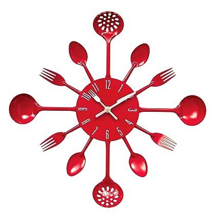 Premier Housewares PREM-2200501 Orologio da Parete, Metallo, Rosso ...