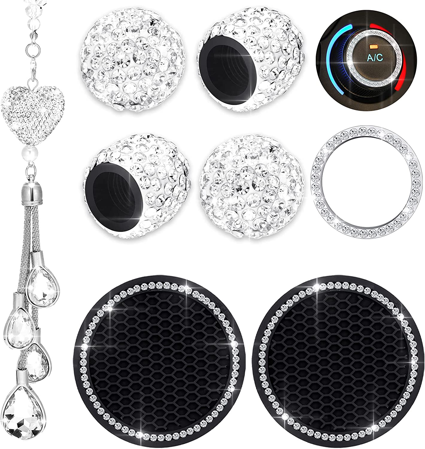 8 Pieces Bling Car Accessories, Includes Bling White Heart Diamond Car Accessories Rhinestone Car Coasters and Bling Sticker Emblem Rings Start Button Rings Tire Valve Stem Caps for Men Women