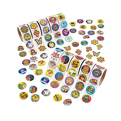 Fun Express - Religious Roll Sticker Assort. (10rolls) - Stationery - Stickers - Stickers - Roll - 10 Pieces: Toys & Games
