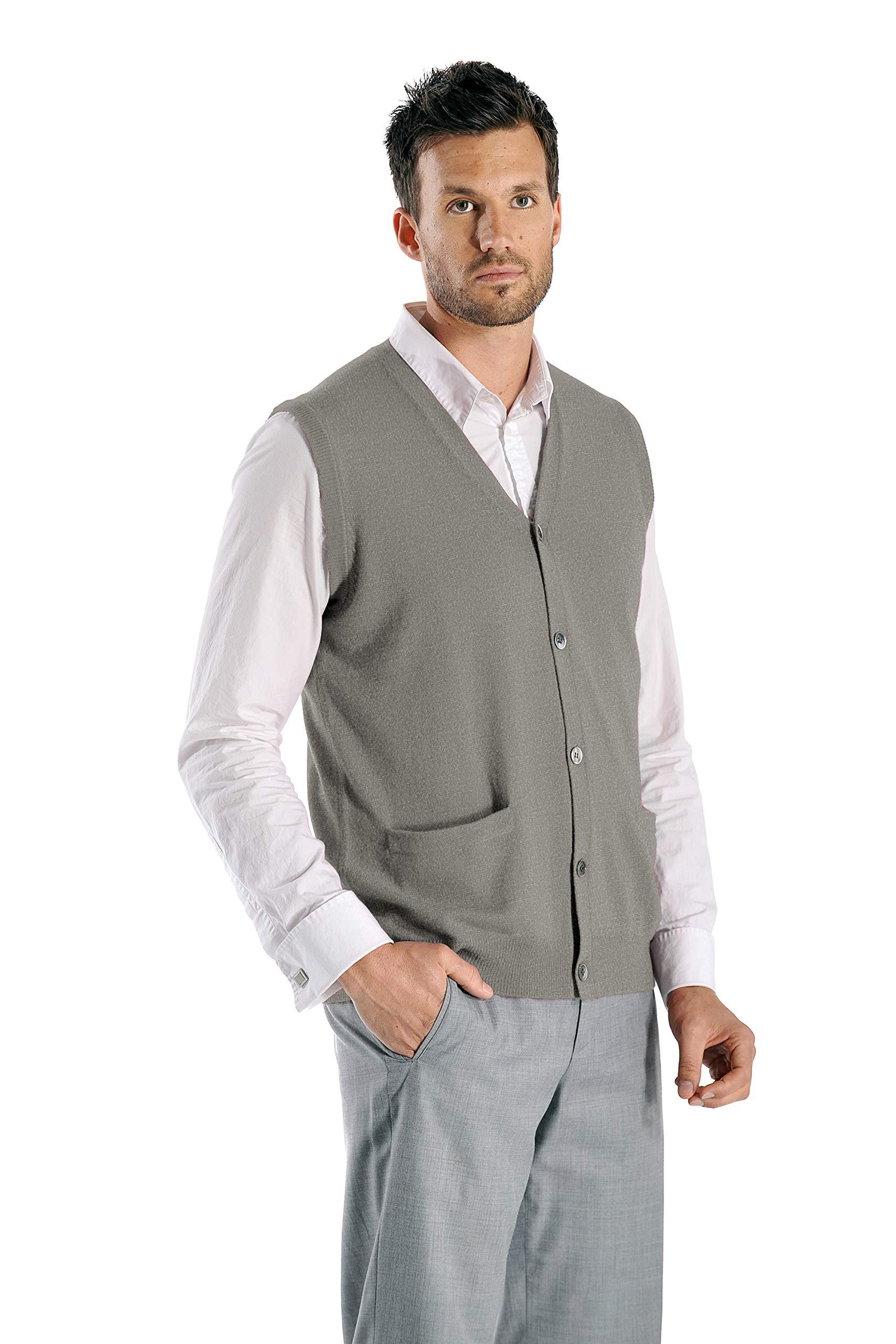 Cashmere Boutique: Men's 100% Pure Cashmere Sleeveless Cardigan Vest Sweater (Color: Medium Gray, Size: Medium) by Cashmere Boutique