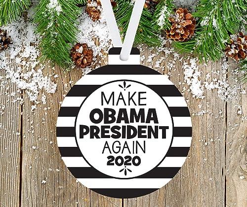 Obama Christmas 2020 Amazon.com: Make Obama President Again, MAGA 2020 Ornament
