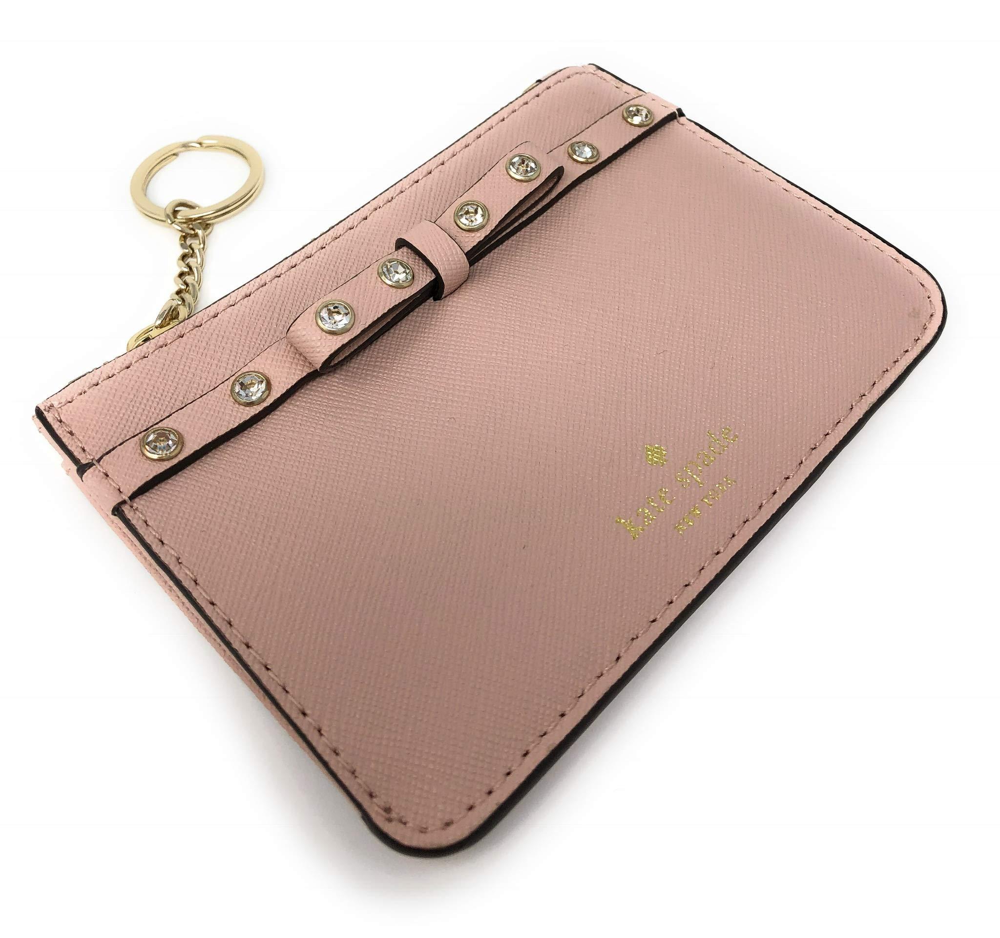Kate Spade New York Laurel Way Bitsy Card Case Wallet Key Ring Jeweled Warmvellum