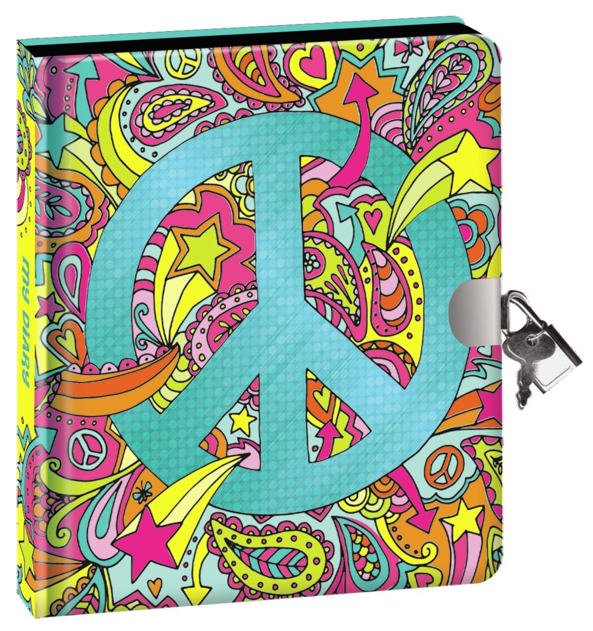 Peaceable Kingdom Shiny Foil Peace Sign Lock and Key Diary with Silver Pen