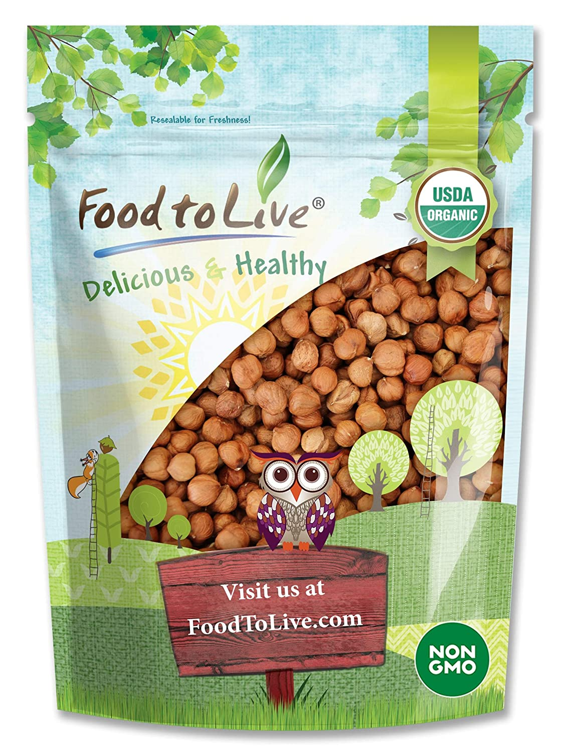 Organic Hazelnuts / Filberts by Food to Live (Raw, No Shell, Kosher, Bulk) — 1 Pound