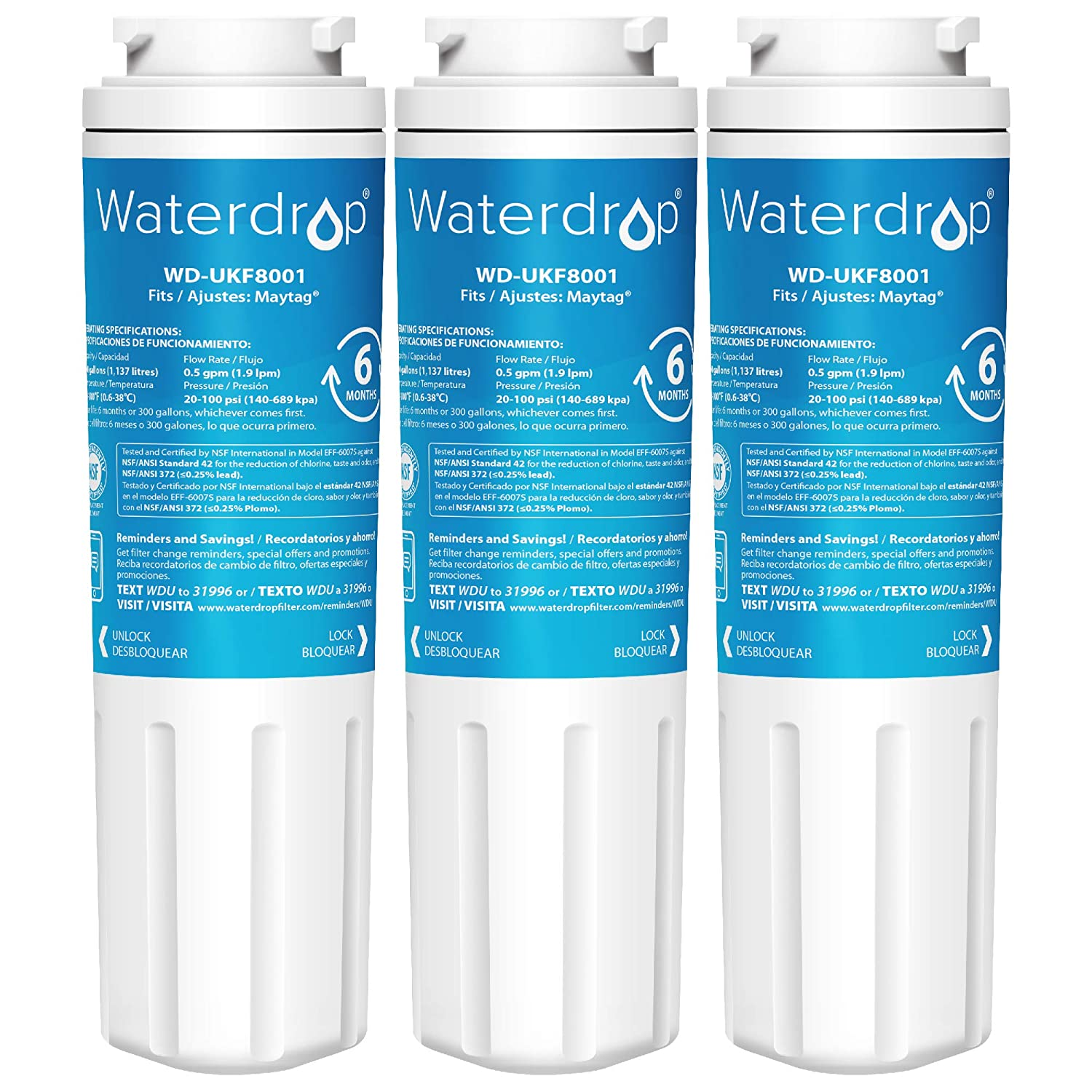 Waterdrop UKF8001 Refrigerator Water Filter, Compatible with Maytag  UKF8001, UKF8001AXX-750, UKF8001AXX-200, Whirlpool 4396395, 469006,  EveryDrop
