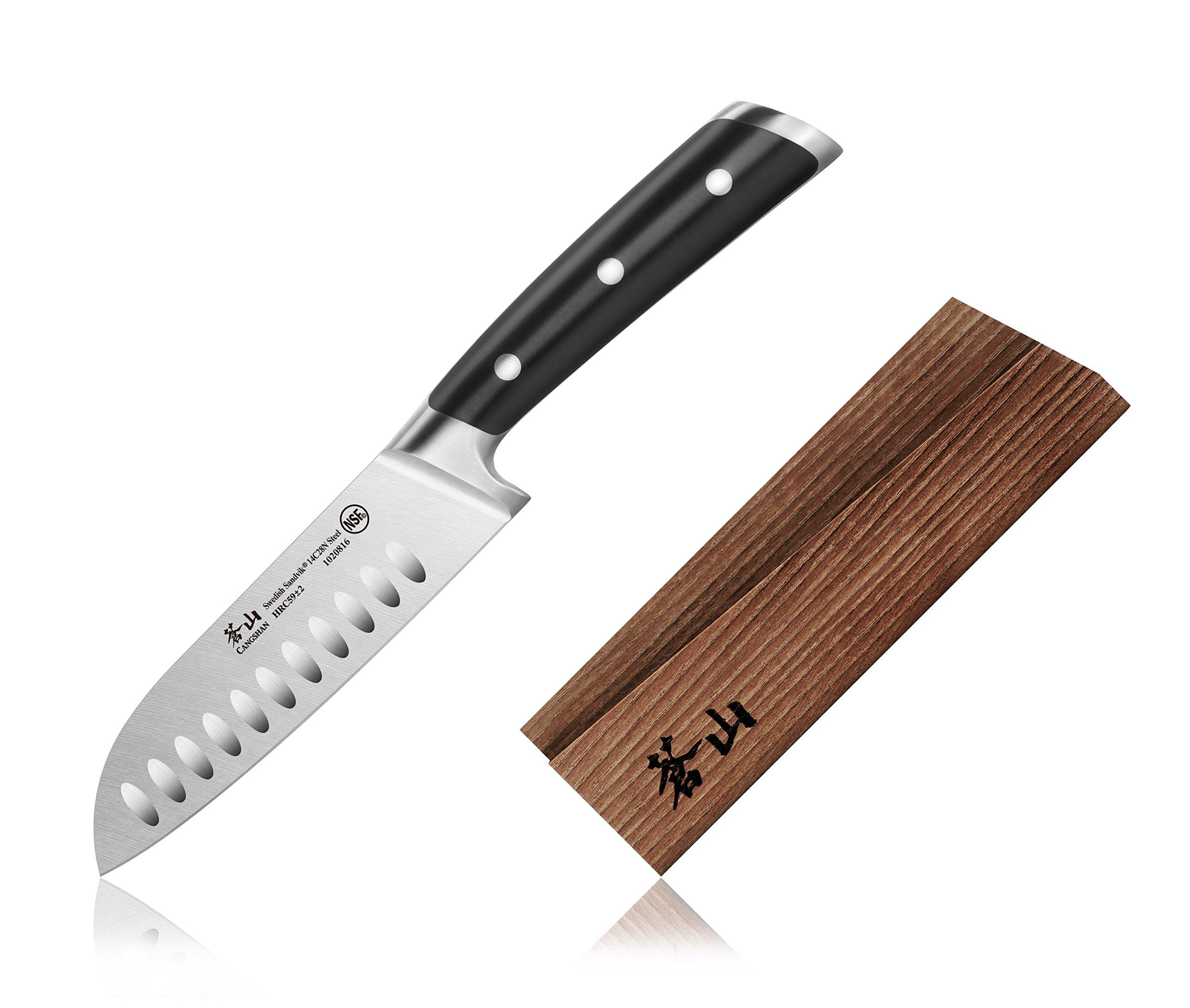Cangshan TS Series 1020823 Swedish Sandvik 14C28N Steel Forged 5-Inch Santoku Knife and Wood Sheath Set