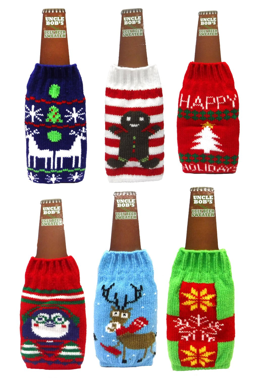 Uncle Bob's Ugly Beer Sweater Novelty Bottle Covers (Set of Six)