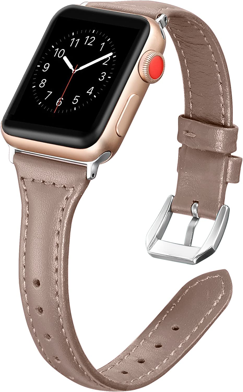 Secbolt Leather Bands Compatible Apple Watch Band 38mm 40mm Iwatch Series 6 5 4 3 2 1 SE Slim Replacement Wristband Strap Stainless Steel Buckle, Caramel Chocolate