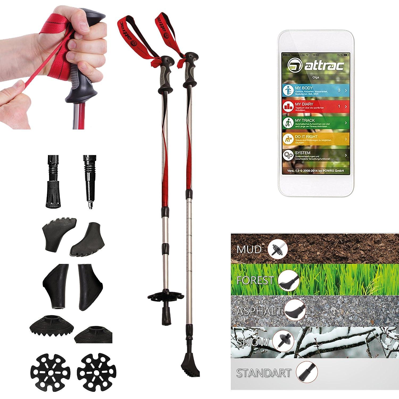 Attrac Bâtons de randonnées Bâtons de Trekking Antichoc, télescopiques, réglables + Application Nordic Walking Fitness POWRX