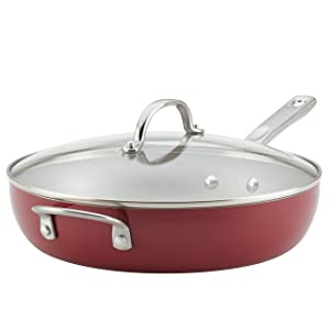 Ayesha Curry Home Collection Porcelain Enamel Nonstick Covered Deep Skillet With Helper Handle, 12-Inch, Sienna Red