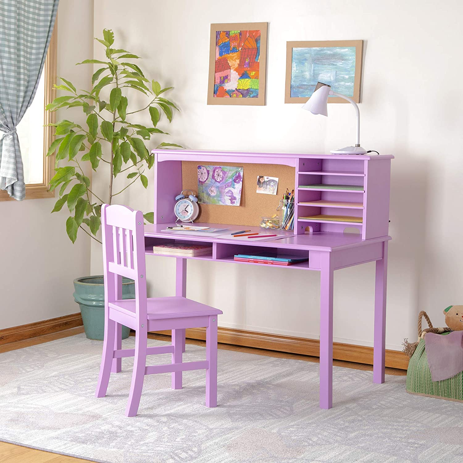 Amazon Com Guidecraft Children S Media Desk And Chair Set Lavender Student S Study Computer Workstation With Hutch And Shelves Wooden Kids Bedroom Furniture Home Kitchen