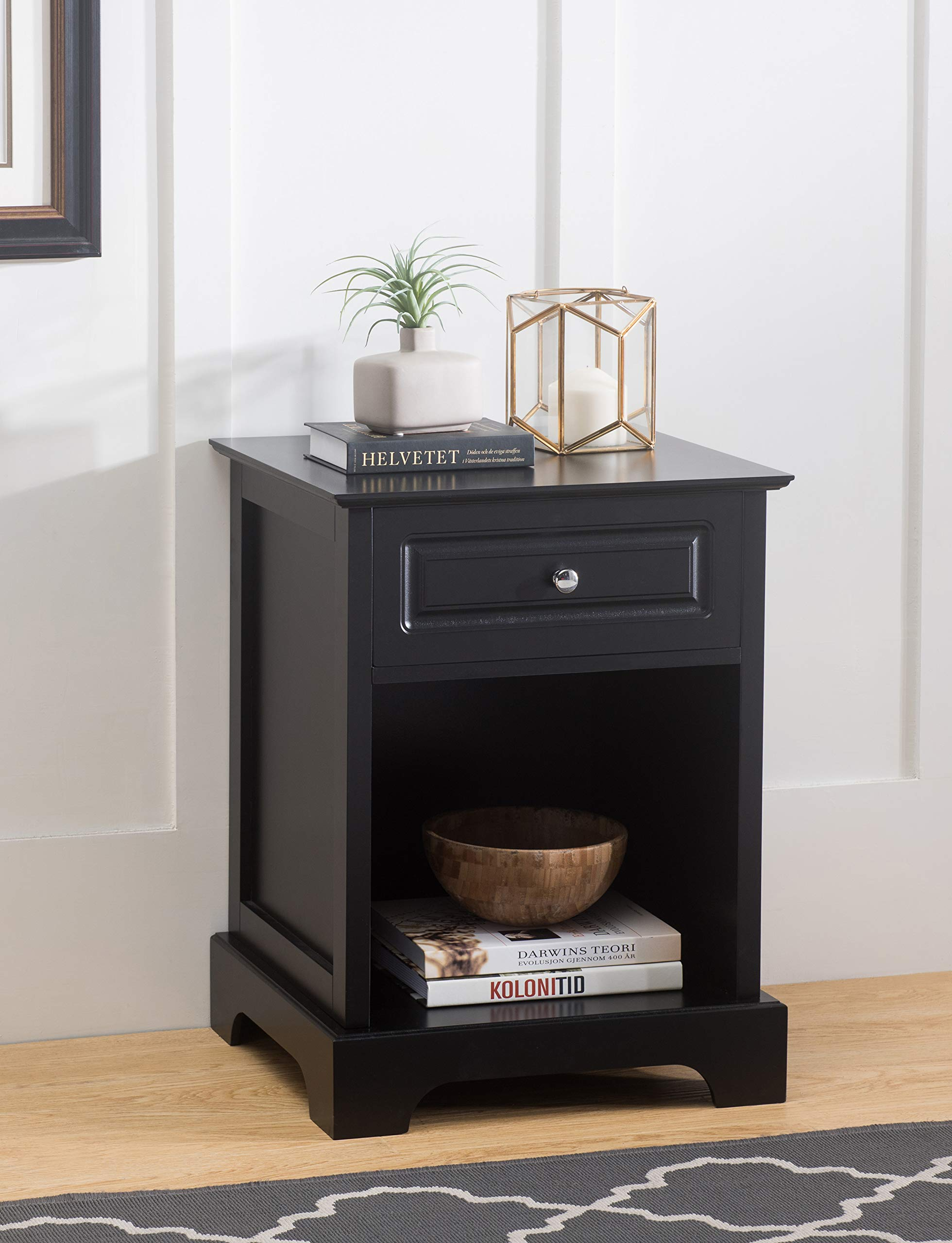 2L Lifestyle B12600006-P Carleton Side Table with Drawer Black Finish, Small