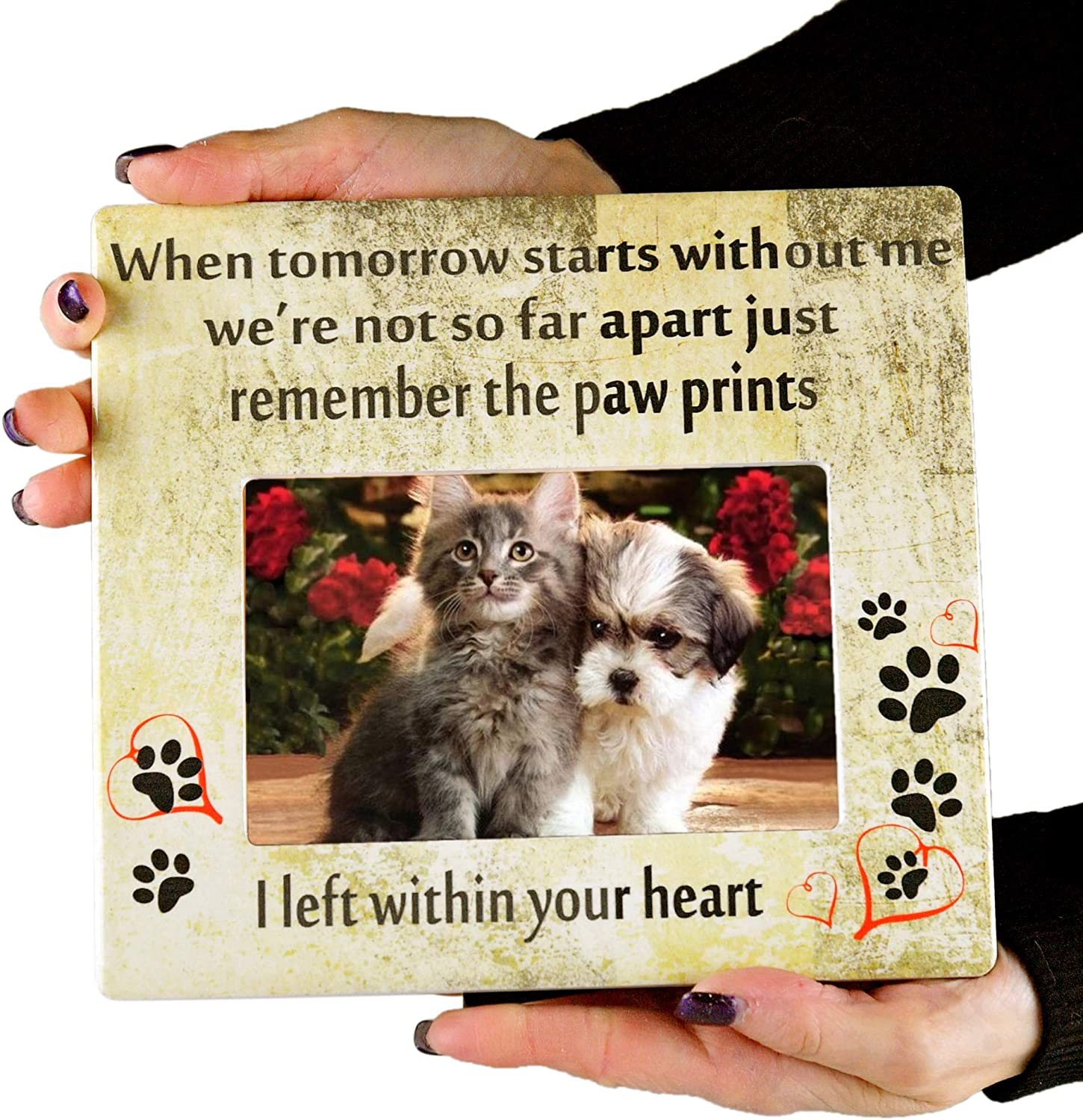 "Sympathy for Loss of Dog or Cat-8 L x 7 3//8 W-Fits Standard 4x6/"" Photograph Remembrance Picture Frame Home-X Pet Memorial Frame-Paw Prints"