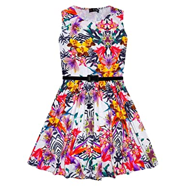 082d8b1920ab4 Girls Skater Dress Kids Tropical Print Summer Party Dresses New Age 7 8 9  10 11 12 13 Years: Amazon.co.uk: Clothing