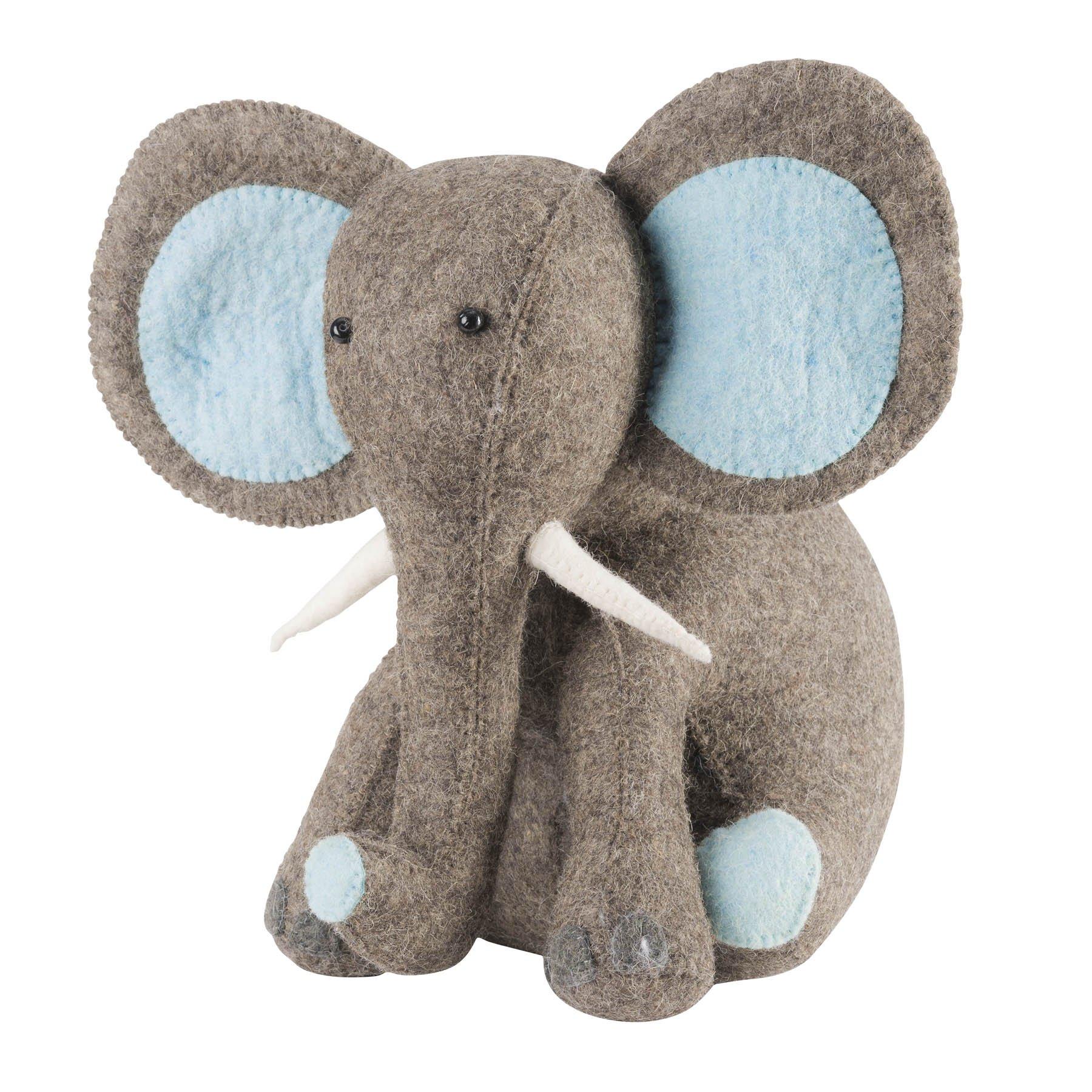 ARCADIA HOME Elephant in Hand Felted Wool Door Stop, Blue