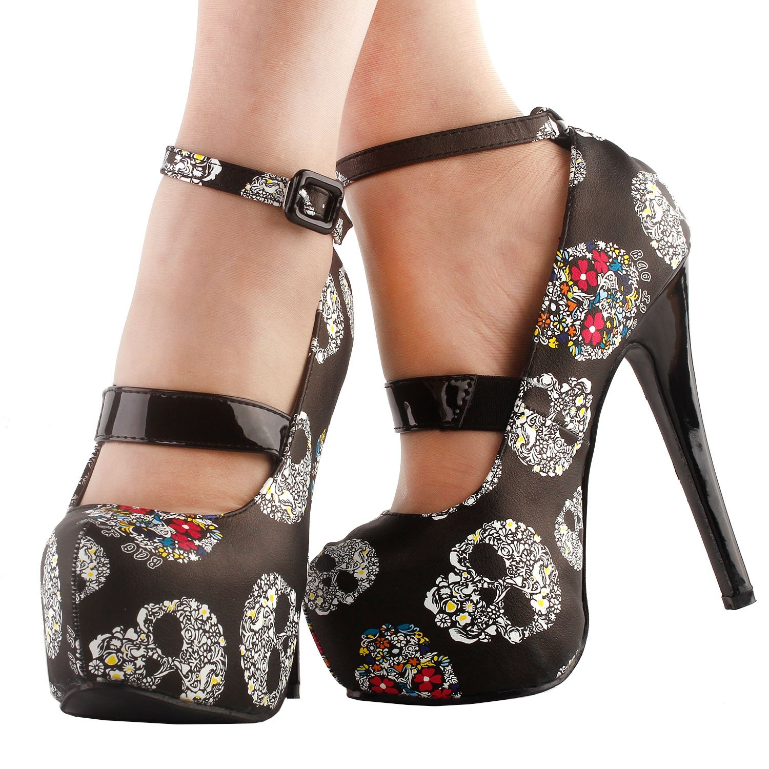 573691b53af SHOW STORY Women Sexy Skull Print Ankle Strap Platform Stiletto Heel Dress  Pumps,LF80873