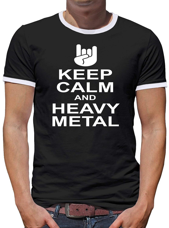 Shirt-People Keep Calm and Heavy Metal Kontrast - Camiseta para hombre Negro S: Amazon.es: Ropa y accesorios
