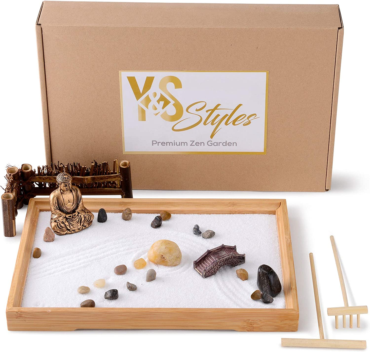 Y&S Styles Zen Garden - Sensory Toys for Home Decor - Fidget Toys for Adults- Decorative Trays for Coffee Table - Japanese Decor with Buddha Statue - Meditation Table for Office Decor