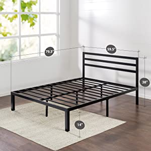 Zinus Quick Lock 14 Inch Metal Platform Bed Frame with Headboard