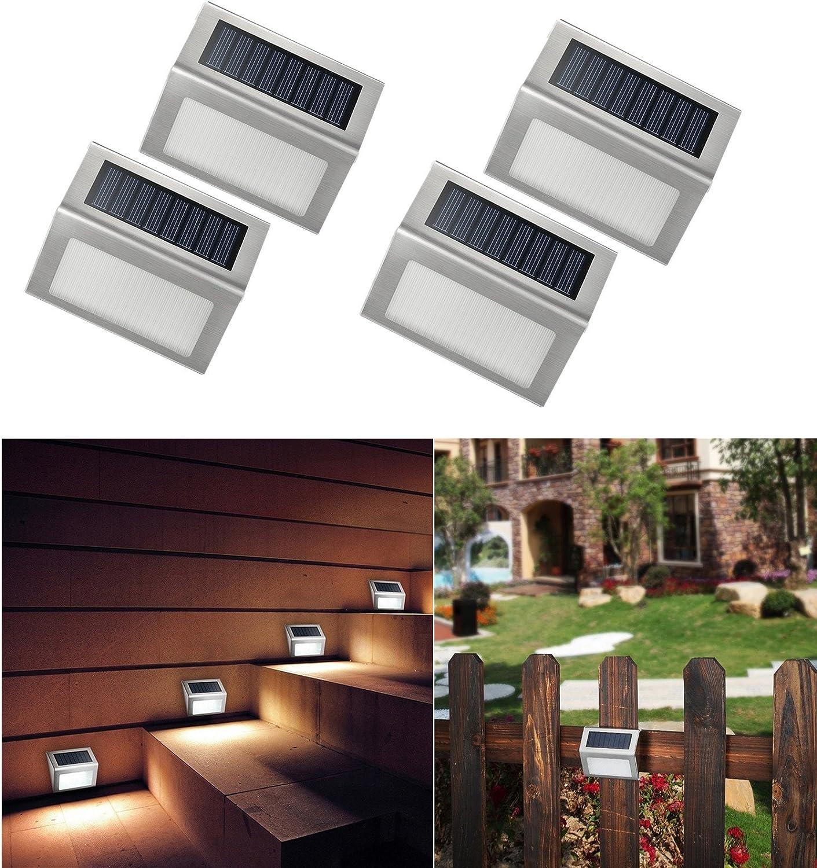 4 Piezas Luces Solares Focos LED Lámpara Solares Exterior,Impermeable Energía Solar con Acabado en Acero Inoxidable Buenas para Pared, Escaleras, Jardín de NORDSD: Amazon.es: Iluminación